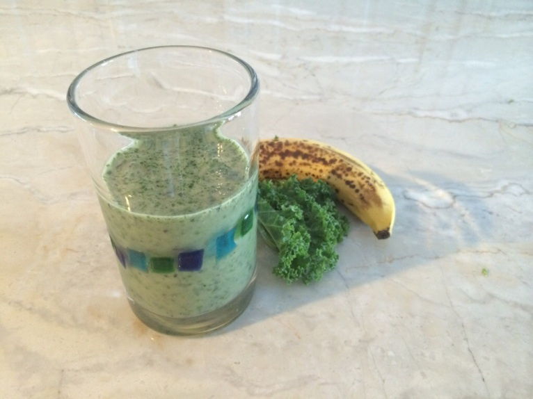 kale, banana, almond milk smoothie