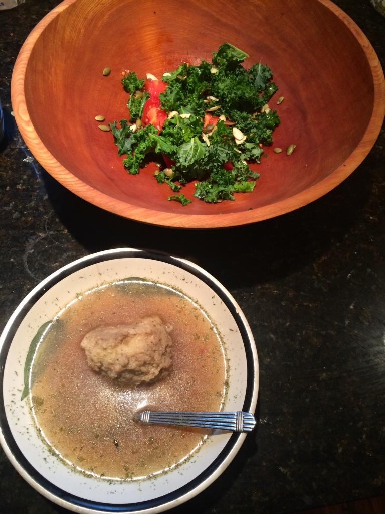 Matzoh ball soup and kale salad