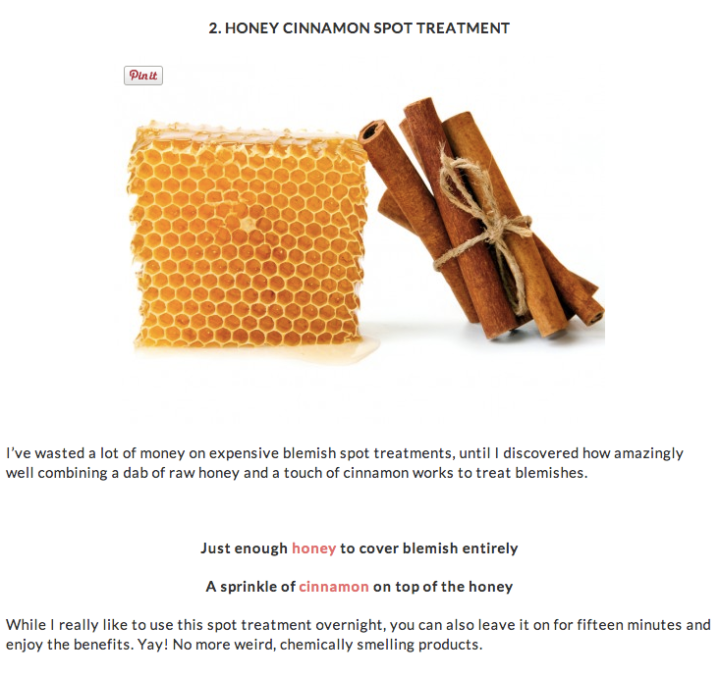 honey cinnamon spot treatment