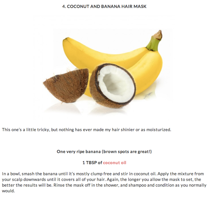 Coconut and banana hair mask