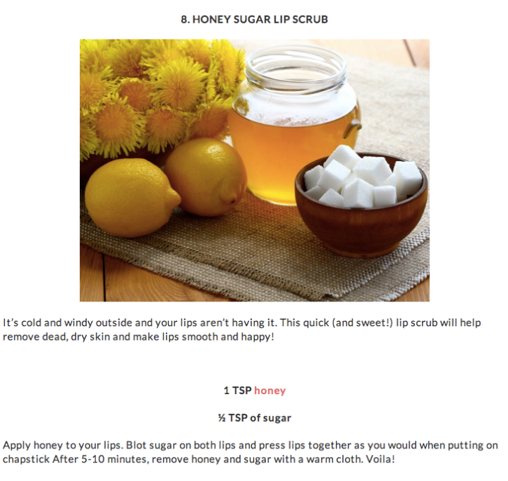 honey sugar lip scrub