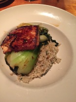 salmon, brown rice, and bok choy