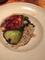 salmon, brown rice, and bok choy